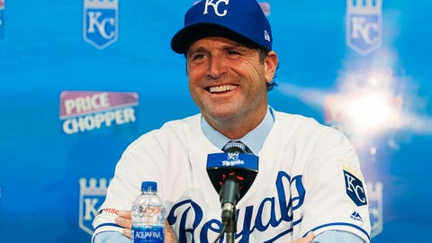 Mike Matheny at press conference announcing him as new Royals manager, Oct. 31, 2019.