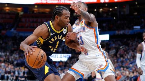 Dec 4, 2019; Oklahoma City, OK, USA; Indiana Pacers forward T.J. Warren (1) drives to the basket as Oklahoma City Thunder guard Terrance Ferguson (23) defends during the second quarter at Chesapeake Energy Arena. Mandatory Credit: Alonzo Adams-USA TODAY Sports