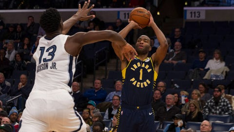 Dec 2, 2019; Memphis, TN, USA; Indiana Pacers forward T.J. Warren (1) shoots against Memphis Grizzlies forward Jaren Jackson Jr. (13) during the first half at FedExForum. Mandatory Credit: Justin Ford-USA TODAY Sports