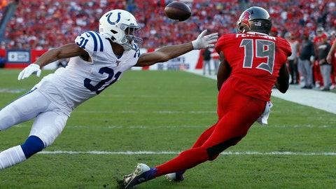 Tampa Bay Buccaneers wide receiver Breshad Perriman (19) beats Indianapolis Colts cornerback Quincy Wilson (31) on a 12-yard touchdown pass during the second half of an NFL football game Sunday, Dec. 8, 2019, in Tampa, Fla. (AP Photo/Mark LoMoglio)