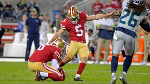 Nov 11, 2019; Santa Clara, CA, USA; San Francisco 49ers kicker Chase McLaughlin (5) kicks a field goal against the Seattle Seahawks during the first half at Levi's Stadium. Mandatory Credit: Kirby Lee-USA TODAY Sports