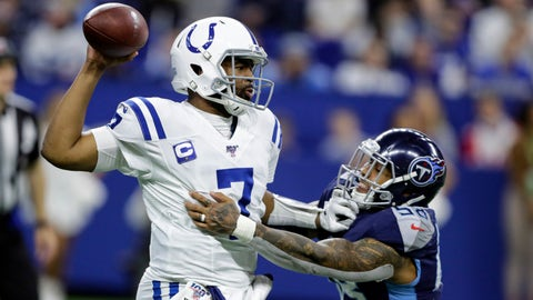 .Indianapolis Colts quarterback Jacoby Brissett (7) throws an interception as he is hit by Tennessee Titans linebacker Harold Landry (58) during the second half of an NFL football game in Indianapolis, Sunday, Dec. 1, 2019. (AP Photo/Darron Cummings)