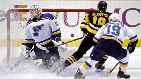 Pittsburgh Penguins' Alex Galchenyuk (18) scores past St. Louis Blues goaltender Jordan Binnington (50) with Jay Bouwmeester (19) defending during the third period of an NHL hockey game in Pittsburgh, Wednesday, Dec. 4, 2019. The Penguins won 3-0. (AP Photo/Gene J. Puskar)