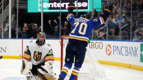 St. Louis Blues' Oskar Sundqvist (70), of Sweden, celebrates after scoring past Vegas Golden Knights goaltender Marc-Andre Fleury during the second period of an NHL hockey game Thursday, Dec. 12, 2019, in St. Louis. (AP Photo/Jeff Roberson)