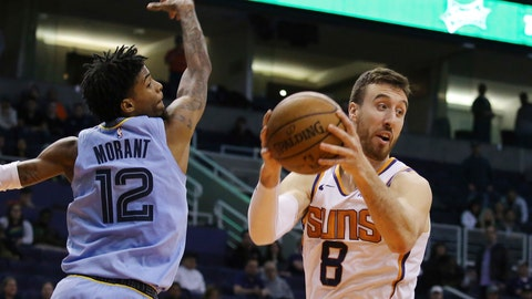 <p>               Phoenix Suns forward Frank Kaminsky (8) grabs a rebound in front of Memphis Grizzlies guard Ja Morant (12) during the second half of an NBA basketball game, Wednesday, Dec. 11, 2019, in Phoenix. The Grizzlies defeated the Suns 115-108. (AP Photo/Ross D. Franklin)             </p>