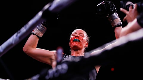 <p>               Elin Cederroos, reacts after defeating Alicia Napoleon-Espinosa in a boxing bout in Atlantic City, N.J., Friday, Jan. 10, 2020. (AP Photo/Matt Rourke)             </p>