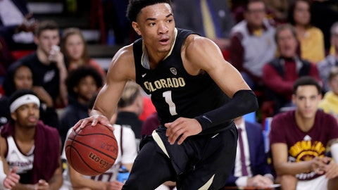 <p>               Colorado guard Tyler Bey (1) looks to pass against Arizona State during the first half of an NCAA college basketball game, Thursday, Jan. 16, 2020, in Tempe, Ariz. (AP Photo/Matt York)             </p>