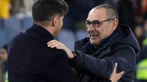 <p>               Roma's head coach Paulo Fonseca, left, and Juventus' coach Maurizio Sarri greet prior to the Serie A soccer match between Roma and Juventus at the Rome Olympic Stadium, Italy, Sunday, Jan. 12, 2020. (AP Photo/Andrew Medichini)             </p>