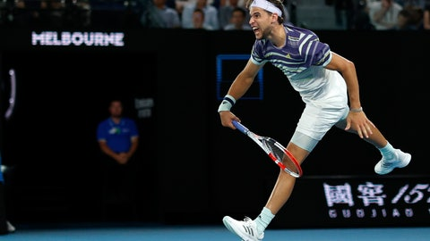<p>               Austria's Dominic Thiem serves to Spain's Rafael Nadal during their quarterfinal match at the Australian Open tennis championship in Melbourne, Australia, Wednesday, Jan. 29, 2020. (AP Photo/Andy Wong)             </p>