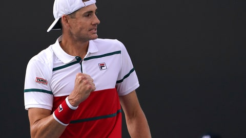 <p>               John Isner of the U.S. celebrates after defeating Chile's Alejandro Tabilo in their second round singles match at the Australian Open tennis championship in Melbourne, Australia, Thursday, Jan. 23, 2020. (AP Photo/Lee Jin-man)             </p>