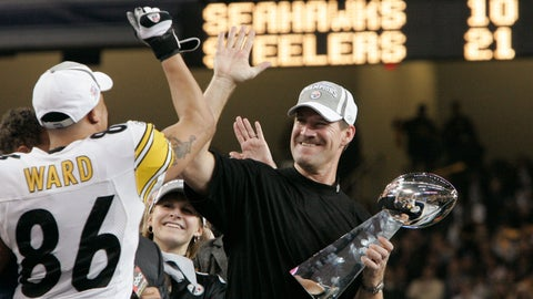 <p>               FILE - In this Sunday, Feb. 5, 2006 file photo, Pittsburgh Steelers head coach Bill Cowher high-fives Hines Ward (86), MVP of the Super Bowl XL football game, after they defeated the Seattle Seahawks, 21-10 in Detroit. Former Pittsburgh Steelers coach Bill Cowher has been elected to the Pro Football Hall of Fame. Cowher, an analyst for CBS, was surprised by the announcement made live on air in studio before the Tennessee Titans-Baltimore Ravens AFC divisional round playoff game Saturday night, Jan. 11, 2020. (AP Photo/Elaine Thompson, File)             </p>