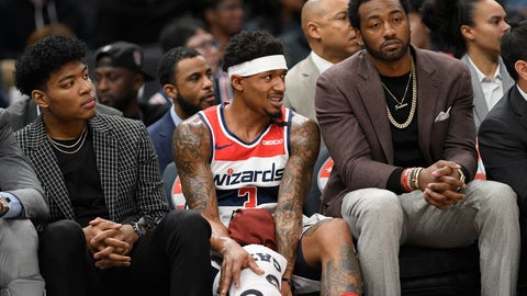 <p>               Washington Wizards forward Rui Hachimura, left, of Japan, guard Bradley Beal, center, and guard John Wall, right, watch from the bench during the first half of an NBA basketball game against the Utah Jazz, Sunday, Jan. 12, 2020, in Washington. (AP Photo/Nick Wass)             </p>