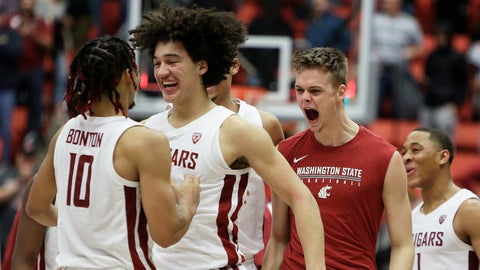 <p>               Washington State guard Isaac Bonton, forward CJ Elleby, forward Aljaz Kunc and guard Jervae Robinson, from left, celebrate the team's 67-65 win over Arizona State in an NCAA college basketball game in Pullman, Wash., Wednesday, Jan. 29, 2020. (AP Photo/Young Kwak)             </p>
