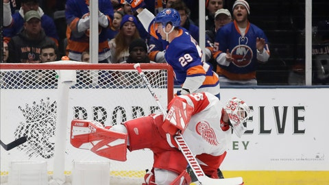 <p>               New York Islanders' Brock Nelson (29) celebrates as Detroit Red Wings goaltender Jimmy Howard (35) reacts after Nelson scored a goal during the first period of an NHL hockey game Tuesday, Jan. 14, 2020, in Uniondale, N.Y. (AP Photo/Frank Franklin II)             </p>