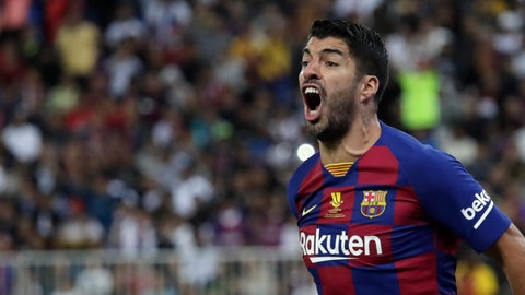 <p>               Barcelona's Luis Suarez reacts during the Spanish Super Cup semifinal soccer match between Barcelona and Atletico Madrid at King Abdullah stadium in Jiddah, Saudi Arabia, Thursday, Jan. 9, 2020. (AP Photo/Hassan Ammar)             </p>