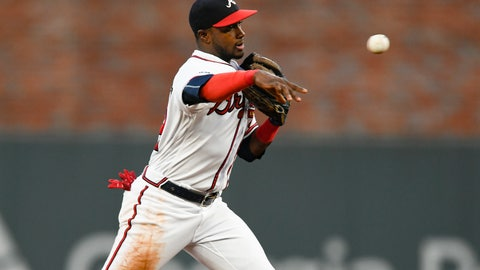 <p>               FILE - In this Sept. 21, 2019, file photo, Atlanta Braves second baseman Adeiny Hechavarria throws out San Francisco Giants' Evan Longoria at first base after forcing out Buster Posey at second for a double play during the first inning of a baseball game in Atlanta. The Braves have boosted their infield depth by re-signing Hechavarria to a $1 million, one-year deal. (AP Photo/John Amis, File)             </p>