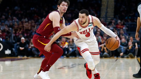 <p>               Chicago Bulls' Zach LaVine (8) drives against Cleveland Cavaliers' Cedi Osman in the second half of an NBA basketball game, Saturday, Jan. 25, 2020, in Cleveland. (AP Photo/Ron Schwane)             </p>