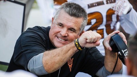 <p>               FILE - In this Saturday, Oct. 29, 2016, file photo, then-Arizona State head coach Todd Graham coaches on the sidelines against Oregon in an NCAA college football game, in Eugene, Ore. Hawaii hired former Arizona State coach Todd Graham on Tuesday, Jan. 21, 2020, to lead their football program. (AP Photo/Thomas Boyd, File)             </p>