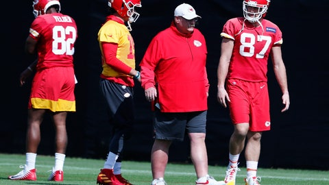 <p>               Kansas City Chiefs quarterback Patrick Mahomes (15) and tight end Travis Kelce (87) walk with head coach Andy Reid during practice on Thursday, Jan. 30, 2020, in Davie, Fla., for the NFL Super Bowl 54 football game. (AP Photo/Brynn Anderson)             </p>