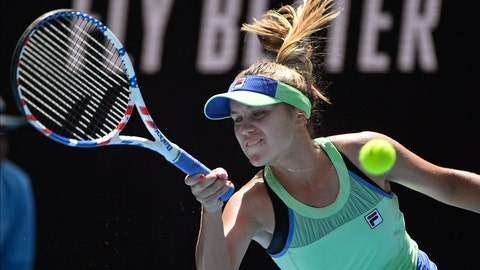 <p>               Sofia Kenin of the U.S. makes a forehand return to Tunisia's Ons Jabeur during their quarterfinal match at the Australian Open tennis championship in Melbourne, Australia, Tuesday, Jan. 28, 2020. (AP Photo/Andy Brownbill)             </p>