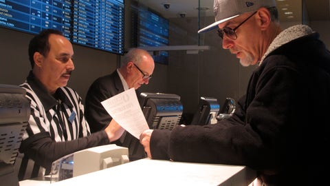 <p>               In this Jan. 29, 2020, photo, a gambler makes bets on the upcoming Super Bowl at Bally's casino in Atlantic City N.J. Gambling industry officials expect Sunday's Super Bowl to be among the most heavily wagered-on championship games ever. (AP Photo/Wayne Parry)             </p>