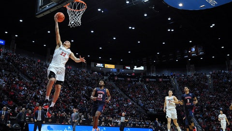<p>               San Diego State guard Malachi Flynn (22) goes to the basket as Fresno State guard Anthony Holland (25) looks on during the second half of an NCAA college basketball game Wednesday, Jan. 1, 2020, in San Diego. San Diego won 61-52. (AP Photo/Orlando Ramirez)             </p>
