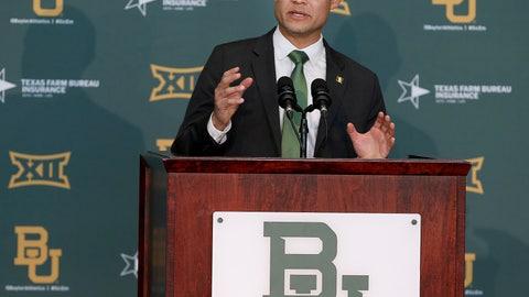 <p>               Baylor's new head football coach Dave Aranda addresses the media during an NCAA college football news conference, Monday, Jan. 20, 2020, in Waco, Texas. (Jerry Larson/Waco Tribune-Herald via AP)             </p>
