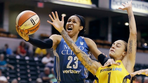 <p>               FILE - In this Aug. 30, 2017, file photo, Minnesota Lynx's Maya Moore, left, shoots against Indiana Fever's Jazmon Gwathmey during the first half of a WNBA basketball game in Indianapolis. Moore will sit out a second straight WNBA season in 2020 to continue her push for criminal justice reform. (AP Photo/Darron Cummings, File)             </p>