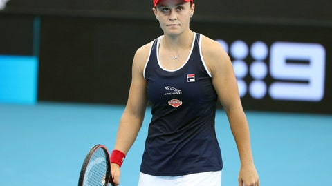 <p>               Ashleigh Barty of Australia reacts after missing a shot during her match against Jennifer Brady of the United States at the Brisbane International tennis tournament in Brisbane, Australia, Thursday, Jan. 9, 2020. (AP Photo/Tertius Pickard)             </p>