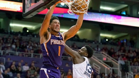 <p>               CORRECTS TO SAY THE GRIZZLIES WON, NOT THE SUN -  Phoenix Suns guard Devin Booker (1) dunks over Memphis Grizzlies forward Jaren Jackson Jr. in the second half during an NBA basketball game, Sunday, Jan. 5, 2020, in Phoenix. The Grizzlies won 121-114. (AP Photo/Rick Scuteri)             </p>