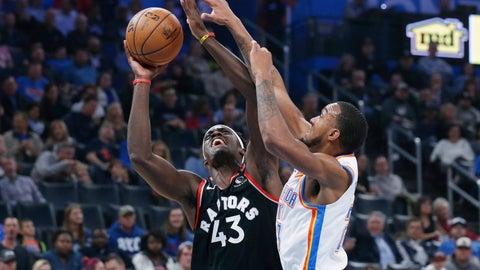 <p>               Toronto Raptors forward Pascal Siakam (43) shoots as Oklahoma City Thunder guard Terrance Ferguson defends during the first half of an NBA basketball game Wednesday, Jan. 15, 2020, in Oklahoma City. (AP Photo/Sue Ogrocki)             </p>