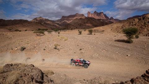 <p>               Driver Mathieu Serradori, of France, and co-driver Fabian Lurquin, of Belgium, race their Century during stage four of the Dakar Rally between Neom and Al Ula, in Saudi Arabia, Wednesday, Jan. 8, 2020. (AP Photo/Bernat Armangue)             </p>