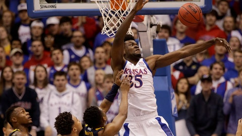 <p>               Kansas' Udoka Azubuike (35) blocks a shot during the first half of an NCAA college basketball game against West Virginia, Saturday, Jan. 4, 2020, in Lawrence, Kan. (AP Photo/Charlie Riedel)             </p>