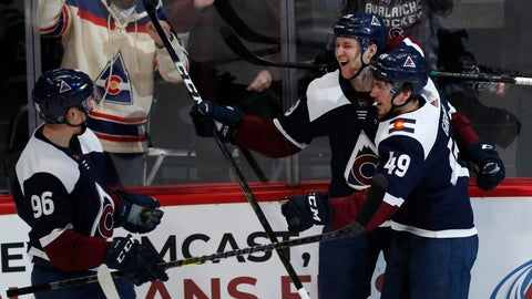 <p>               Colorado Avalanche center Nathan MacKinnon, center, celebrates scoring a goal with defenseman Samuel Girard, right, and right wing Mikko Rantanen in the first period of an NHL hockey game against the St. Louis Blues Saturday, Jan. 18, 2020, in Denver. (AP Photo/David Zalubowski)             </p>
