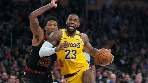 <p>               Los Angeles Lakers forward LeBron James, right, drives toward the basket as Cleveland Cavaliers forward Alfonzo McKinnie defends during the second half of an NBA basketball game, Monday, Jan. 13, 2020, in Los Angeles. The Lakers won 128-99. (AP Photo/Mark J. Terrill)             </p>