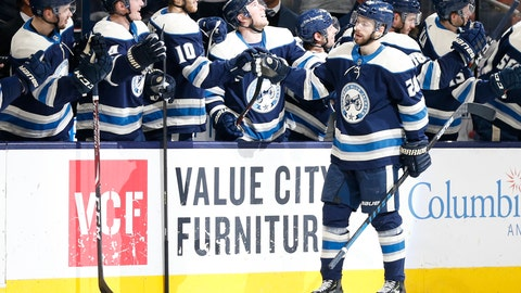 <p>               Columbus Blue Jackets' Oliver Bjorkstrand, of Denmark, celebrates his goal against the Winnipeg Jets during the third period of an NHL hockey game Wednesday, Jan. 22, 2020, in Columbus, Ohio. The Blue Jackets beat the Jets 4-3. (AP Photo/Jay LaPrete)             </p>