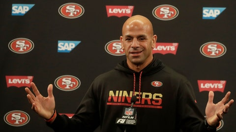 <p>               San Francisco 49ers defensive coordinator Robert Saleh speaks during a news conference at the team's NFL football training facility in Santa Clara, Calif., Thursday, Jan. 23, 2020. The 49ers will face the Kansas City Chiefs in Super Bowl 54. (AP Photo/Jeff Chiu)             </p>