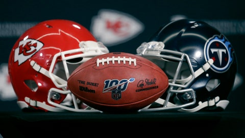 <p>               Helmets for the Kansas City Chiefs and the Tennessee Titans are displayed during a news conference for this weeks NFL conference championship football game at Arrowhead Stadium in Kansas City, Mo., Thursday, Jan. 16, 2020. (AP Photo/Charlie Riedel)             </p>