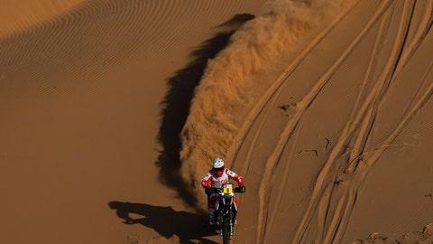 <p>               Paulo Gonçalves of Portugal rides his Hero motorbike during stage seven of the Dakar Rally between Riyadh and Wadi Al Dawasir, Saudi Arabia, Sunday, Jan. 12, 2020. Gonçalves, 40, died after an accident at kilometer 276. (AP Photo/Bernat Armangue)             </p>
