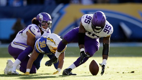 <p>               Minnesota Vikings defensive end Ifeadi Odenigbo, right, recovers a fumble before running it back for a touchdown during the first half of an NFL football game against the Los Angeles Chargers, Sunday, Dec. 15, 2019, in Carson, Calif. (AP Photo/Marcio Jose Sanchez)             </p>