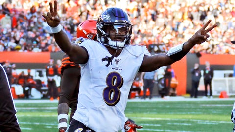 <p>               Baltimore Ravens quarterback Lamar Jackson celebrates a 12-yard touchdown pass to running back Mark Ingram during the second half of an NFL football game against the Cleveland Browns, Sunday, Dec. 22, 2019, in Cleveland. (AP Photo/Ron Schwane)             </p>