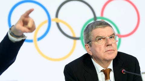 <p>               International Olympic Committee (IOC) president Thomas Bach attends a press conference after the executive board meeting of the IOC at the Olympic House, in Lausanne, Switzerland, Thursday, Jan. 9, 2020. (Laurent Gillieron/Keystone via AP)             </p>