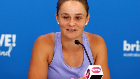 <p>               Ashleigh Barty of Australia talks to the media during a press conference ahead of the Brisbane International tennis tournament in Brisbane, Australia, Sunday, Jan. 5, 2020. (AP Photo/Tertius Pickard)             </p>