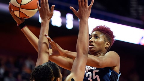<p>               FILE - In this July 17, 2018, file photo, Atlanta Dream forward Angel McCoughtry shoots over Connecticut Sun forward Alyssa Thomas during the first half of a WNBA basketball game, in Uncasville, Conn. McCoughtry, a two-time WNBA scoring champion, is testing free agency for the first time in her career. (Sean D. Elliot/The Day via AP, File)             </p>