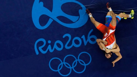 <p>               FILE - In this Aug. 16, 2016, file photo, South Korea's Ryu Han-su competes against Azerbaijan's Rasul Chunayev during the bronze medal round of the men's wrestling Greco-Roman 66-kg competition at the 2016 Summer Olympics in Rio de Janeiro, Brazil. With the Olympics six months away, Nenad Lalovic, the president of wrestling's international governing body says the sport is on a solid foundation and positioned for growth. (AP Photo/Markus Schreiber, File)             </p>