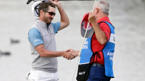 <p>               Andrew Landry, left, celebrates with his caddie Terry Walker after winning The American Express golf tournament on the Stadium Course at PGA West in La Quinta, Calif., Sunday, Jan. 19, 2020. (AP Photo/Alex Gallardo)             </p>