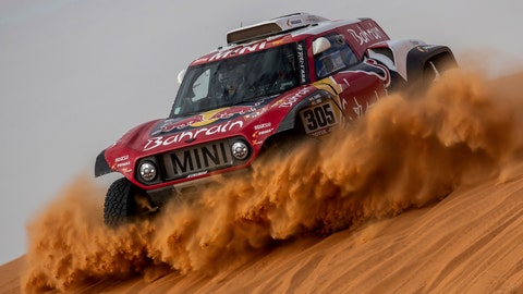 <p>               Driver Carlos Sainz, of Spain, and co-driver Lucas Cruz, of Spain, race their Mini during stage six of the Dakar Rally between Hail and Riyadh, Saudi Arabia, Friday, Jan. 10, 2020. (AP Photo/Bernat Armangue)             </p>