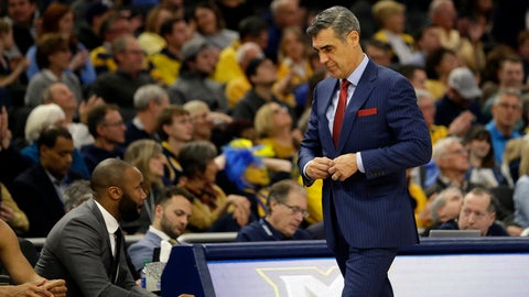 <p>               Villanova head coach Jay Wright buttons his suit jacket during the second half of an NCAA college basketball game against Marquette, Saturday, Jan. 4, 2020, in Milwaukee. (AP Photo/Aaron Gash)             </p>