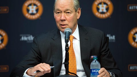 <p>               Houston Astros owner Jim Crane speaks at a news conference in Houston, Monday, Jan. 13, 2020.  Crane opened the news conference by saying manager AJ Hinch and general manager Jeff Luhnow were fired for the team's sign-stealing during its run to the 2017 World Series title. (Yi-Chin Lee/Houston Chronicle via AP)             </p>