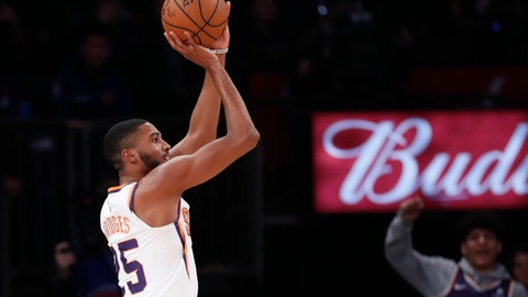 <p>               Phoenix Suns forward Mikal Bridges (25) shoots for three points with no visible New York Knicks defense during the first half of an NBA basketball game in New York, Thursday, Jan. 16, 2020. (AP Photo/Kathy Willens)             </p>